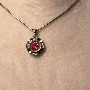 4 for $12: Silver Tone with Red Flower Stone